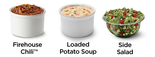 Firehouse Chili, Loaded Potato Soup, Side Salad